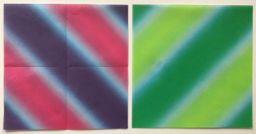 Diagonal pattern origami paper